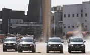 Volkswagen Amaroks Demolish 140-Ton Chimney